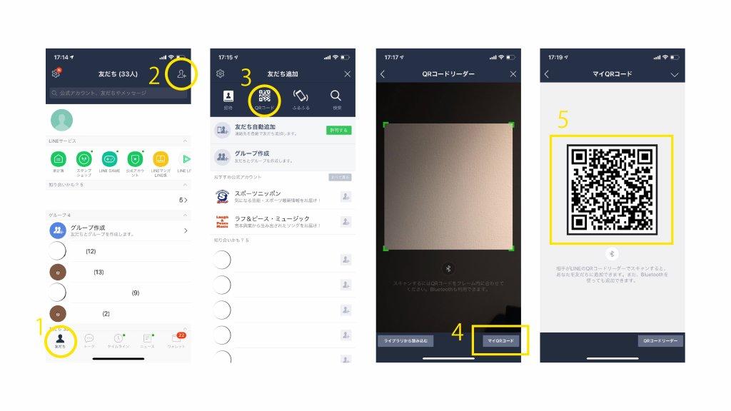 iphone操作。Line友達追加用のQRコード作成方法