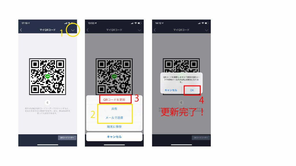 iPhone操作。Lineで友達追加する方法。QRコードをメールで送る。QRコードを更新する。